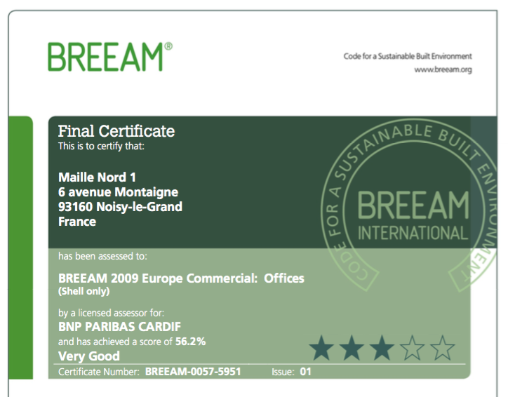 Certificat BREEAM VERY GOOD